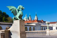 Dragon bridge, Ljubljana, Slovenia, Europe. Stock Photos