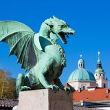 Dragon bridge, Ljubljana, Slovenia, Europe. Stock Images
