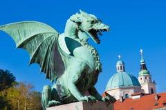Dragon bridge, Ljubljana, Slovenia, Europe. Royalty Free Stock Photos