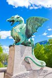 Dragon bridge, Ljubljana, Slovenia, Europe. Royalty Free Stock Images