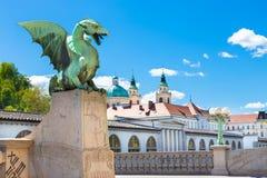 Dragon bridge, Ljubljana, Slovenia, Europe. Stock Images
