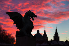Dragon bridge, Ljubljana, Slovenia, Europe. Royalty Free Stock Photography