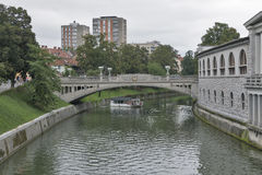 Dragon bridge in Ljubljana, Slovenia Stock Photography
