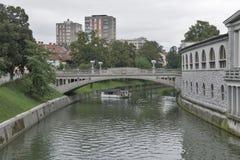 Dragon bridge in Ljubljana, Slovenia Stock Photography