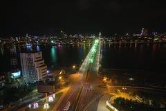 Dragon bridge night Da Nang Vietnam Apec 2017. Vietnam Architecture in Da Nang: Cau Vong Da Nang is a testament to Danang`s growing economy Royalty Free Stock Image