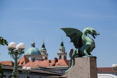 Dragon Bridge and other buildings in central Ljubljana Royalty Free Stock Photography