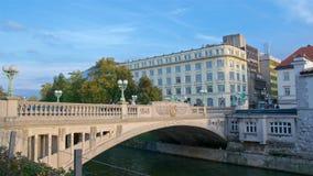 Dragon Bridge over Ljubljana River in the Old Town of Ljubljana in Slovenia Royalty Free Stock Images