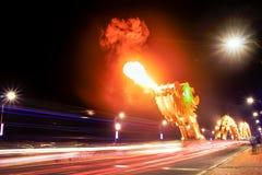 Dragon bridge breathing fire, in Danang, Vietnam Royalty Free Stock Photo
