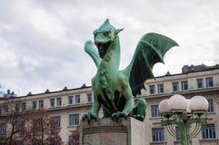 Dragon bridge statue. Of Ljubljana Stock Photography