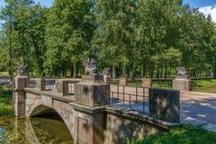 Dragon Bridge, Tsarskoye Selo, Rússia fotos de stock