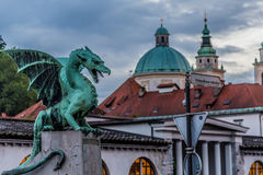 Dragon Bridge Zmajski höchst, Ljubljana, Slowenien Stockbilder