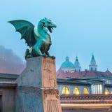 Dragon bridge (Zmajski most), Ljubljana, Slovenia. Royalty Free Stock Photos
