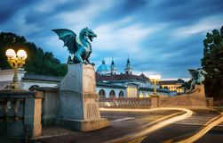 Dragon bridge Zmajski most, symbol of Ljubljana, capital of S. Lovenia, Europe. Long exposure. Time lapse royalty free stock images