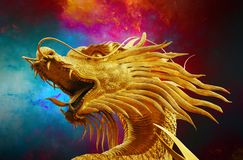 Dragon, Broncefigur, Golden Dragon Royalty Free Stock Images