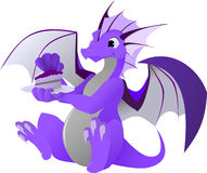 Dragon with Cake Stock Image