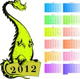 Dragon calendar 2012 Stock Photo