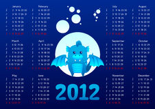 Dragon calendar 2012. 2012 calendar for chinese blue water dragon year Royalty Free Stock Image