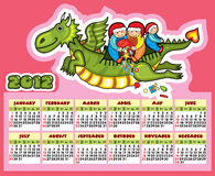 Dragon Calendar New Year Fly Child Present. 2012 calendar with flying dragon on a pink background royalty free illustration