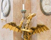 Dragon Candelabrum nella basilica della st Mang in Fussen, Baviera, Germa fotografia stock