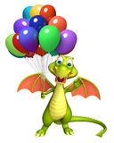Dragon cartoon character with balloon. 3d rendered illustration of Dragon cartoon character with balloon Stock Photography