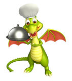 Dragon cartoon character with chef hat and cloche Stock Image