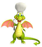 Dragon cartoon character  with chef hat and spoons Stock Images