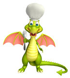 Dragon cartoon character  with chef hat and spoons Stock Photography