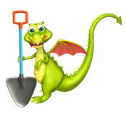 Dragon cartoon character with digging shovel Stock Photo