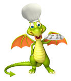 Dragon cartoon character with dinner plate and chef hat. 3d rendered illustration of Dragon cartoon character with dinner plate and chef hat Stock Images