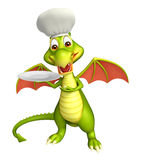 Dragon cartoon character with dinner plate and chef hat. 3d rendered illustration of Dragon cartoon character with dinner plate and chef hat Stock Photo
