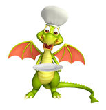 Dragon cartoon character with dinner plate and chef hat. 3d rendered illustration of Dragon cartoon character with dinner plate and chef hat Stock Image