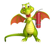 Dragon cartoon character with fire extinguisher. 3d rendered illustration of Dragon cartoon character with fire extinguisher Stock Photos