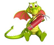 Dragon cartoon character with fire extinguisher. 3d rendered illustration of Dragon cartoon character with fire extinguisher Royalty Free Stock Images