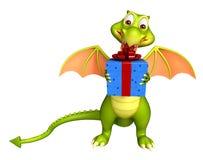 Dragon cartoon character with gift box. 3d rendered illustration of Dragon cartoon character with gift box Royalty Free Stock Photo