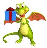 Dragon cartoon character with gift box. 3d rendered illustration of Dragon cartoon character with gift box Stock Photo