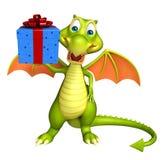 Dragon cartoon character with gift box. 3d rendered illustration of Dragon cartoon character with gift box Stock Image