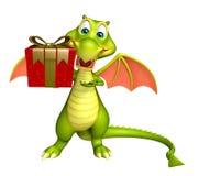 Dragon cartoon character with gift box. 3d rendered illustration of Dragon cartoon character with gift box Stock Photos