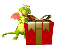 Dragon cartoon character with gift box Stock Photo