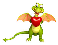 Dragon cartoon character with heart Royalty Free Stock Image
