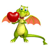 Dragon cartoon character with heart Royalty Free Stock Images