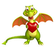 Dragon cartoon character with heart Stock Photography