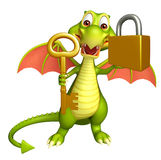 Dragon cartoon character with key and lock Stock Image