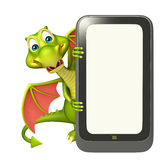 Dragon cartoon character with mobile Royalty Free Stock Image