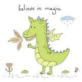 Dragon Cartoon Character sorridente felice Illustrazione di vettore Immagini Stock Libere da Diritti