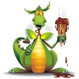 Dragon Cartoon con el ejemplo divertido derretido del vector del carácter del helado foto de archivo