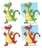Dragon Cartoon Mascot Character Set Samling royaltyfri illustrationer