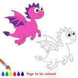 Dragon cartoon. Page to be colored. Stock Image