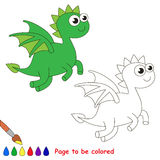 Dragon cartoon. Page to be colored. Stock Photo