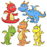 Dragon cartoon set Royalty Free Stock Photos