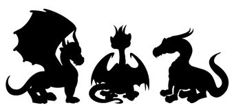 Dragon cartoon silhouettes Royalty Free Stock Image